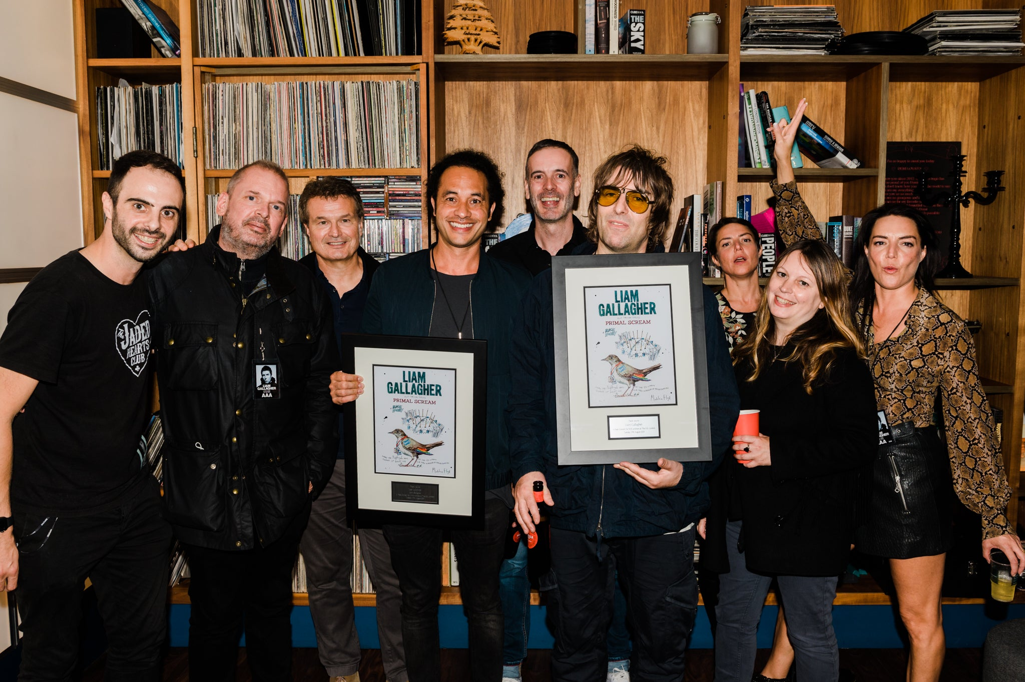 The O2 present Liam Gallagher with commemorative artwork to mark NHS show